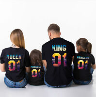 Matching Family Shirts King Queen Prince Princess Couple T-Shirt Summer Outfits