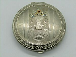 Antique Victorian Silver Guilloche Compact Flowers Engraved early 1910s sorority