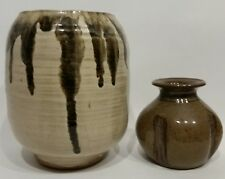 ART POTTERY PLANTER POT VASE BROWN SPECKLED DRIP GLAZE SIGNED HANDMADE LOT OF 2