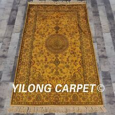 YILONG 3'x5' Hand Knotted Golden Silk Rug Antique Washed Home Decor Carpet G57C