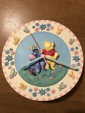 Rare Vintage Winnie The Pooh Wall Clock Porcelain Disney China Working
