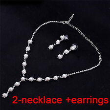 Bride Wedding Jewelry Sets Simple Crystal Necklace Earrings Bracelets Sets FT