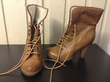 Brown Ankle Boots Booties High Chuncky Heels Womens Size 7