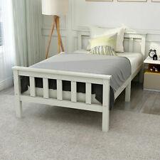 Kinderbett Weiß Einzelbett 200x90cm Jugendbett mit Lattenrost Massivholzbett 150