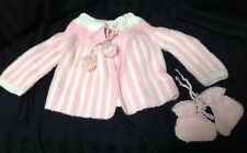Handmade Knit Baby Sweater & Booties Pink & White 12 Month