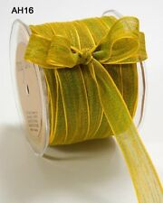 """MAY ARTS RIBBONS~MESH RIBBON~PARROT GREEN & YELLOW~5/8THS"""" WIDE~SOLD BY THE YARD"""