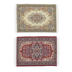 2 PCS Handmade Woven Rug Floor Carpet Miniatures Decor For 1/12 Dollhouse
