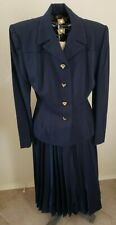 40s-50s Jacket & Pleated Skirt Navy Blue Novelty Face Buttons Gilbert Originals