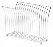 Chrome Steel Magazine Holder Rack Storage Bathroom Office Organizer Book Stand