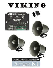 Viking Intercom Paging System with Amplifier and 3 Powered Speaker PA