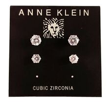 Anne Klein Silver-Tone Cubic Zirconia Round Stud Earrings Msrp $26.00