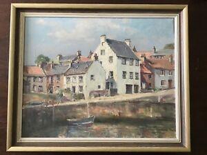 "Oil On Canvas. Harbour/village. Signed Allsop. 22.5"" X 18.5"""