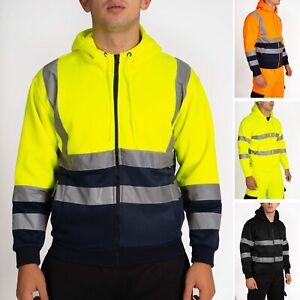 Hi Viz Vis Zip Hoodie High Visibility Jacket Work Hoody Sweatshirt Fleece S-5XL