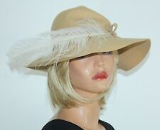 Vintage Nos New With Tag Beige Wool Wide Brim Hat Feather Accent Union Tag Usa