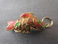 Cloisonne Articulated Mini Wiggle Fish Charm Pendant Pink/Green 1pc