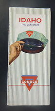 1960 Idaho  road map Conoco  oil  gas Yellowstone Glacier Parks the Gem State