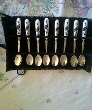 Vintage Porcelain HANDLE Spoons Roses Velvet Sleeve Shabby Old Chic Buffet Tea