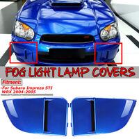 For 2004-2005 Subaru Impreza WRX STi Blue Fog Light Lamp Bumper Bezel Covers