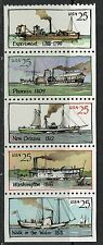 #2405-09 1989 25-cent Steamboats booklet pane of 5 MNH