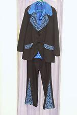 Mens 70s Black Blue Pimp Suit and Blue Shirt Fancy Dress Costume XL  (264)