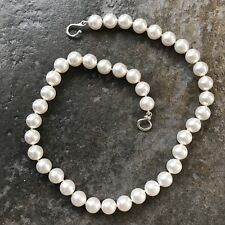 "10mm Swarovski Crystal Pearl Necklace, 17 3/4"", White - BRAND NEW"