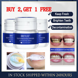 30g BREYLEE Teeth Whitening Powder Toothpaste Tooth Remover Plaque Stains HOT
