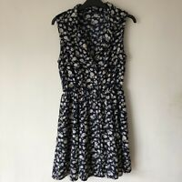 Miso Size UK 10 Floral Buttoned Dress Flowy Summer Midi Open Front Collared