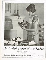 1920s BIG Original Vintage Kodak Autographic Camera Pretty Lady Photo Print Ad
