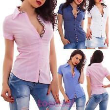 Camicia donna avvitata cotone maniche corte business elegante sexy nuova M1905