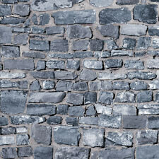 1/12 Dolls House Grey Stone Brick Wall Embossed A3 Wallpaper Card DIY798A