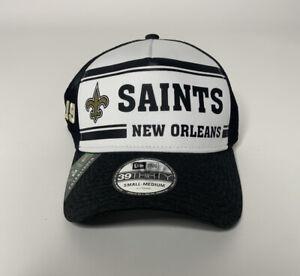 New Era Saints White/Black 2019 NFL Sideline Historic Logo 39THIRTY Hat Sz S/M