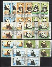 Mongolia 1990 Sc# 1879-86 set Giant Pandas blocks 4 NH CTO