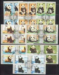 Mongolia 1990 Sc# 1879-86 set Giant Pandas blocks 4 NH CTO