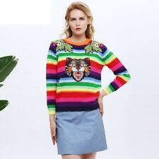 Women Rainbow Stripe Sweater Tiger Embroidered Wool Knitted Pullover Long Sleeve