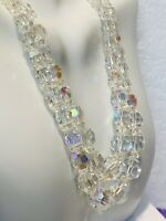 1900's Vintage Aurora Borealis Sparkly Crystal Beaded Double Strand Necklace