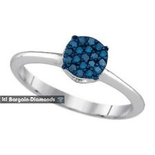 blue diamond .15 carat round right-hand ring love promise 925 silver engagement