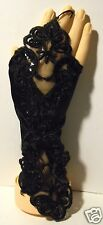 Black satin ladies wrist lenght fingerless gloves with sequins,beads and lace.