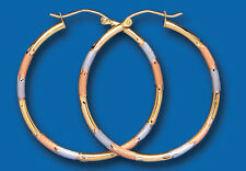 Hoop earrings Rose Yellow White Gold Multi Tone Hoops Creole 35mm Hallmarked