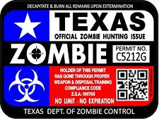 "Texas Flag Zombie Hunting License Permit 3""x4"" Decal Sticker Outbreak 1295"