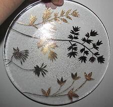 Autumn Fall Gold Golden Leaves Harvest Thanksgiving Glass Platter Holiday Dinner