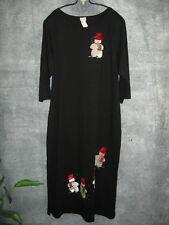 """Vtg Karla Long Black Snowman Dress L Lrg M Med 3/4 Sleeves Velour  44"""" Bust"""