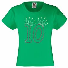 Number 10 Birthday T Shirt for Girls Embellished with Rhinestones / Diamanté