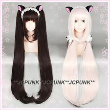 552 NEKOPARA Chocolat / Vanilla Long Cosplay Wig 110cm Clip Ponytails 2Versions