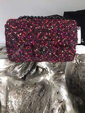 CHANEL SO BLACK Mini Tweed Classic Flap Rectangle Lamb Purple Pink Burgundy NWT