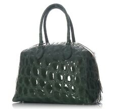 ALAIA Green Patent Embossed Top Handle Bowler Bag