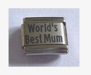 9mm  Italian Charm L41 Worlds  World's Best Mum Fits Classic Size Bracelet