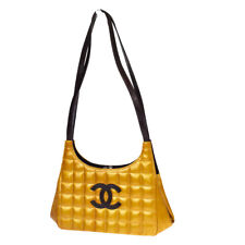 Authentic CHANEL CC Chocolate Bar Patent Leather Ocher Brown Vintage 64EW571