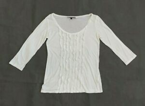 Weekend Max Mara Womens Top 3/4 Sleeve White T-shirt Size S UK 10 Cotton Ruffles