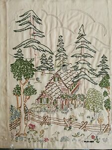 Antique Embroidered Sampler Cabin In The Woods  Signed May 1859