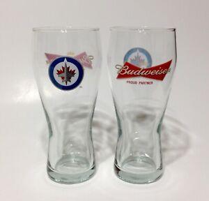 NHL WINNIPEG JETS & Budweiser Beer Pilsner Glasses ~ Set of 2